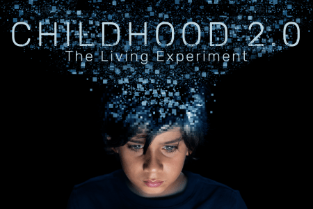 A kid with blue pixels bursting from his head and CHILDHOOD 2.0 across the image